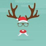 Северный олень рождества с красным шаблоном носа в плоском дизайне Стоковое Изображение