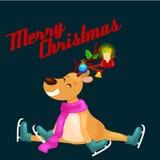 Северный олень рождества с рожками и шарфом катается на коньках на потехе льда и время счастливо тратить накануне праздника Новог бесплатная иллюстрация