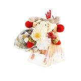 Северный олень рождества с русскими рублями Стоковое Изображение RF