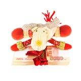 Северный олень рождества с стогом русских рублей Стоковое Изображение