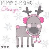 Северный олень рождества с ухом muffs иллюстрация вектора Стоковые Изображения