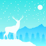 Северный олень с рождеством снега сосны и горы иллюстрация штока