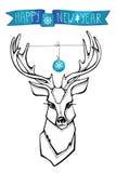 Северный олень с boll, знаменем прогулки invitation new year Стоковая Фотография