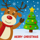 Северный олень усмехаясь и поздравительный открытка Стоковое Изображение RF