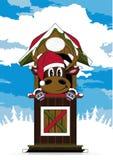 Северный олень шляпы Санты шаржа Стоковые Изображения RF