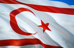 Северный флаг Кипра развевая дизайн флага 3D Национальный символ северного Кипра, перевода 3D Национальные цвета северного иллюстрация штока