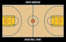 Североамериканская баскетбольная площадка Иллюстрация взгляд сверху Стоковые Изображения RF