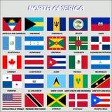Североамериканские флаги, вектор Стоковые Фотографии RF