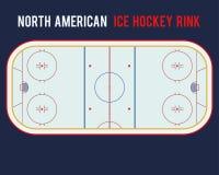 Североамериканский каток хоккея на льде на голубой предпосылке Иллюстрация взгляд сверху Стоковые Изображения RF