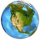 Североамериканский континент на земле Стоковое Изображение