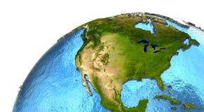 Североамериканский континент на земле Стоковое Изображение RF