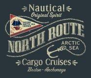 Северо-западный круиз груза парусника Северного океана иллюстрация штока
