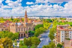 Севилья, городской пейзаж Испании с Площадью de Espana Стоковые Изображения