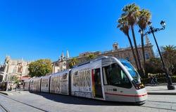 Севилья, Испания, Андалусия, переход трамвая Стоковое фото RF