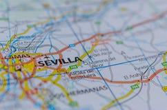 Севилья на карте Стоковая Фотография
