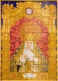 Севилья - керамическое крыть черепицей черепицей Madonna Loreto на церков Iglesia de Сан Isidoro j Soriano Стоковое Изображение RF