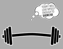 СЕГОДНЯ Я ПОЛЮБЛЮ ДОСТАТОЧНО для того чтобы РАБОТАТЬ - мотивационную цитату о спортзале и культуризме/векторе фитнеса разминки иллюстрация вектора