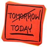 Сегодня, не завтра, cocnept промедления стоковое изображение rf