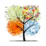 4 сезона - весна, лето, осень, зима. Искусство иллюстрация штока