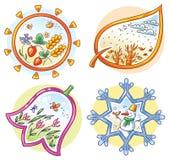 4 сезона в изображениях шаржа нарисованных рукой бесплатная иллюстрация