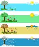4 сезона зима лета весны падения Комплект illust вектора Иллюстрация штока