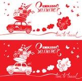 Сезонная карточка с малым и милым ретро автомобилем перемещения с багажом Стоковая Фотография RF