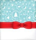 Сезонная поздравительная открытка с тесемкой Иллюстрация штока