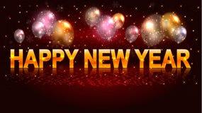 Сезонное знамя с воздушными шарами и счастливой литерностью Нового Года бесплатная иллюстрация
