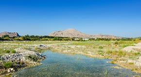 Сезонно, который сушат река на Родосе стоковые фото