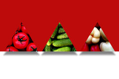 Сезонные овощи внутри 3 абстрактных треугольников Стоковые Изображения