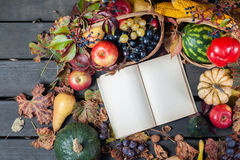 Сезонные плодоовощ и тыквы стоковая фотография rf