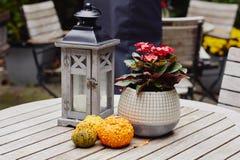 Сезонные украшения с тыквами, фонариком со свечой и цветками стоковое фото rf