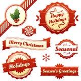 Сезонные ярлыки, бирки, и знамена на праздники Стоковые Изображения RF