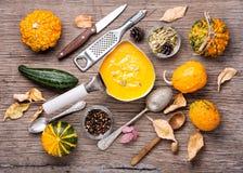 Сезонный суп тыквы стоковые изображения