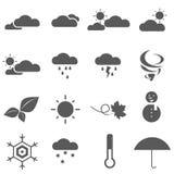 Сезоны и вектор EPS 10 значка погоды Стоковые Изображения RF