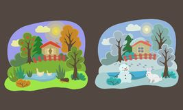Сезоны осень и потеха зимы иллюстрация вектора
