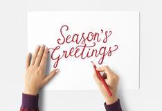 Сезоны приветственных восклицаний приветствуя сочинительство руки Стоковые Изображения RF