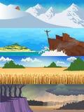 Сезон ландшафта установленный Стоковые Изображения