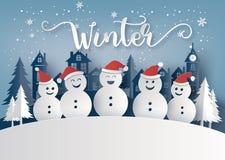 Сезон зимы и с Рождеством Христовым с человеком снега иллюстрация вектора
