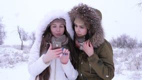 Сезон зимы, привлекательные девушки сидят в социальных сетях используя устройство во время снежностей видеоматериал
