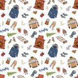 Сезон зимы doodles безшовная картина Вручите вычерченные элементы камин эскиза, стекло горячего вина, одежд, теплого одеяла, носо Стоковые Фотографии RF