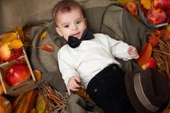 Сезон осени, ложь мальчика ребенка на желтых листьях падения, яблоки, тыква и украшение на ткани Стоковые Фото
