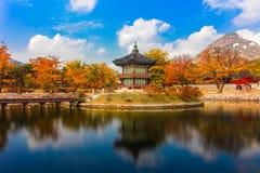 Сезон осени Южной Кореи дворца Gyeongbokgung стоковые изображения