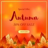 Сезон падения листьев осени с оранжевой предпосылкой bokeh шаблон предложения продажи шаблон сети плаката также вектор иллюстраци иллюстрация штока