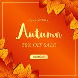 Сезон падения листьев осени с оранжевой предпосылкой bokeh шаблон предложения продажи шаблон сети плаката также вектор иллюстраци иллюстрация вектора