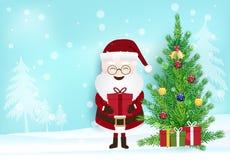 Сезон рождества, Санта держа подарочную коробку и decoratio сосны иллюстрация штока