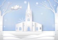 Сезон рождества, стиль искусства бумаги предпосылки зимы, стиль отрезка бумаги бесплатная иллюстрация