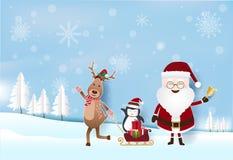 Сезон рождества с Сантой, оленем с подарочными коробками на санях иллюстрация штока