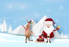 Сезон рождества с Сантой, оленями и подарочными коробками на санях иллюстрация вектора