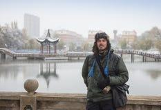 Сезон снега в Китае, Huang длинной с национальном парке стоковое изображение
